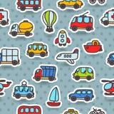 Άνευ ραφής σχέδιο μεταφορών κινούμενων σχεδίων συρμένο χέρι Στοκ εικόνα με δικαίωμα ελεύθερης χρήσης