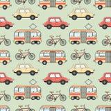 Άνευ ραφής σχέδιο μεταφορών πόλεων ύφους κινούμενων σχεδίων Στοκ Εικόνες
