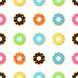 Άνευ ραφής σχέδιο με βερνικωμένος donuts Ρόδινα χρώματα Στοκ εικόνα με δικαίωμα ελεύθερης χρήσης