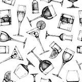 Άνευ ραφής σχέδιο με διαφορετικά goblets γυαλιών διανυσματική απεικόνιση