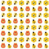 Άνευ ραφής σχέδιο μελισσών μελιού Στοκ Φωτογραφίες