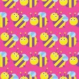 Άνευ ραφής σχέδιο μελισσών Στοκ φωτογραφία με δικαίωμα ελεύθερης χρήσης