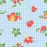 Άνευ ραφής σχέδιο με κεντημένα τα τρύγος λουλούδια Στοκ Εικόνες