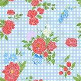 Άνευ ραφής σχέδιο με κεντημένα τα τρύγος λουλούδια Στοκ εικόνες με δικαίωμα ελεύθερης χρήσης