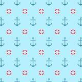 Άνευ ραφής σχέδιο με μια σανίδα σωτηρίας και μια άγκυρα Φωτεινό υπόβαθρο θάλασσας χρώματος διάφορο διάνυσμα παραλλαγών προτύπων π Στοκ Εικόνα