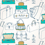 Άνευ ραφής σχέδιο με πολλές τσάντες και βαλίτσες Στοκ Φωτογραφία