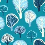 Άνευ ραφής σχέδιο με συρμένα τα χέρι διακοσμητικά δέντρα Στοκ Εικόνα