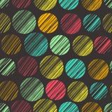 Άνευ ραφής σχέδιο με συρμένα τα χέρι στοιχεία κύκλων. Πλάτη σημείων Πόλκα Στοκ Εικόνες