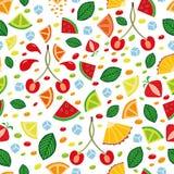 Άνευ ραφής σχέδιο με συρμένα τα χέρι φρούτα Στοκ Εικόνα