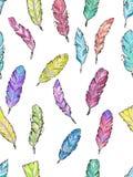 Άνευ ραφής σχέδιο με συρμένα τα χέρι φτερά watercolor σκίτσων Στοκ Εικόνες