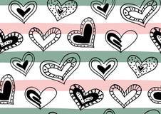 Άνευ ραφής σχέδιο με συρμένες τις χέρι καρδιές μελανιού doodle, λωρίδες Στοκ φωτογραφία με δικαίωμα ελεύθερης χρήσης