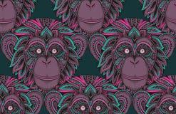 Άνευ ραφής σχέδιο με συρμένο το χέρι περίκομψο χιμπατζή zentagle mon διανυσματική απεικόνιση