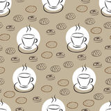 Άνευ ραφής σχέδιο με συρμένο το χέρι φλυτζάνι καφέ και το διαφορετικό μπισκότο Στοκ Φωτογραφία