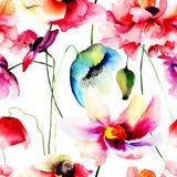 Άνευ ραφής σχέδιο με τα άγρια λουλούδια Στοκ Φωτογραφίες