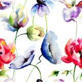 Άνευ ραφής σχέδιο με τα άγρια λουλούδια Στοκ Εικόνα