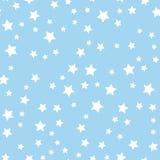 Άνευ ραφής σχέδιο με τα άσπρα αστέρια στο μπλε υπόβαθρο επίσης corel σύρετε το διάνυσμα απεικόνισης Στοκ Εικόνες