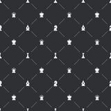 Άνευ ραφής σχέδιο με τα άσπρα εικονίδια σκακιού για το βιβλίο endpaper διανυσματική απεικόνιση