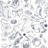 Άνευ ραφής σχέδιο με τα αγαθά μόδας απεικόνιση αποθεμάτων
