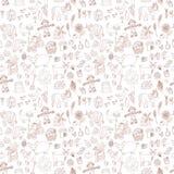 Άνευ ραφής σχέδιο με τα αγροτικά στοιχεία doodle Στοκ Εικόνες