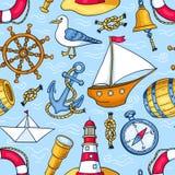 Άνευ ραφής σχέδιο με τα αντικείμενα θάλασσας Στοκ Εικόνα