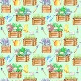 Άνευ ραφής σχέδιο με τα απομονωμένα πικάντικα χορτάρια καρυκευμάτων watercolor ξύλινα κιβώτια και εργαλεία κήπων Ελεύθερη απεικόνιση δικαιώματος