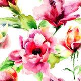 Άνευ ραφής σχέδιο με τα αρχικά θερινά λουλούδια Στοκ Εικόνες