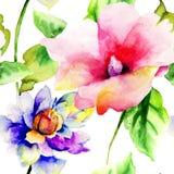 Άνευ ραφής σχέδιο με τα αρχικά θερινά λουλούδια Στοκ εικόνες με δικαίωμα ελεύθερης χρήσης