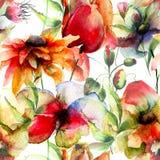 Άνευ ραφής σχέδιο με τα αρχικά λουλούδια Στοκ φωτογραφία με δικαίωμα ελεύθερης χρήσης