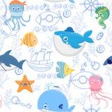 Άνευ ραφής σχέδιο με τα αστεία ζώα θάλασσας Στοκ φωτογραφία με δικαίωμα ελεύθερης χρήσης