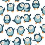 Άνευ ραφής σχέδιο με τα αστεία penguins Στοκ Εικόνες
