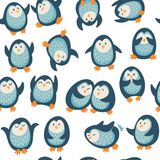 Άνευ ραφής σχέδιο με τα αστεία penguins Στοκ Φωτογραφίες