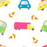 Άνευ ραφής σχέδιο με τα αυτοκίνητα στο επίπεδο ύφος Στοκ φωτογραφίες με δικαίωμα ελεύθερης χρήσης
