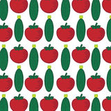 Άνευ ραφής σχέδιο με τα αφηρημένα λαχανικά Απεικόνιση από την ντομάτα και το αγγούρι Στοκ φωτογραφία με δικαίωμα ελεύθερης χρήσης