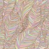 Άνευ ραφής σχέδιο με τα αφηρημένα γραμμικά φύλλα στα χρώματα κρητιδογραφιών Στοκ Εικόνες