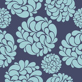 Άνευ ραφής σχέδιο με τα αφηρημένα μπλε λουλούδια Στοκ εικόνα με δικαίωμα ελεύθερης χρήσης