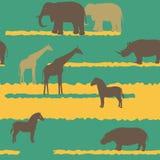 Άνευ ραφής σχέδιο με τα αφρικανικά ζώα Στοκ φωτογραφία με δικαίωμα ελεύθερης χρήσης