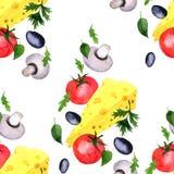 Άνευ ραφής σχέδιο με τα λαχανικά σχεδίων watercolor Στοκ Εικόνες