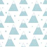 Άνευ ραφής σχέδιο με τα γεωμετρικά χιονώδη βουνά και τα αστέρια Στοκ Εικόνες