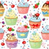 Άνευ ραφής σχέδιο με τα γλυκά ζωηρόχρωμα cupcakes Στοκ Φωτογραφίες