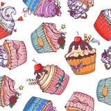 Άνευ ραφής σχέδιο με τα γλυκά ζωηρόχρωμα cupcakes Στοκ φωτογραφία με δικαίωμα ελεύθερης χρήσης