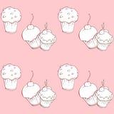 Άνευ ραφής σχέδιο με τα γλυκά κέικ στο ρόδινο υπόβαθρο Απεικόνιση αποθεμάτων