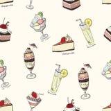 Άνευ ραφής σχέδιο με τα γλυκά απεικόνιση αποθεμάτων