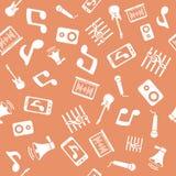 Άνευ ραφής σχέδιο με τα εικονίδια μουσικής Στοκ φωτογραφία με δικαίωμα ελεύθερης χρήσης