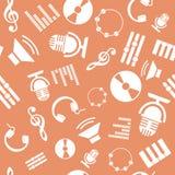 Άνευ ραφής σχέδιο με τα εικονίδια μουσικής Στοκ εικόνα με δικαίωμα ελεύθερης χρήσης
