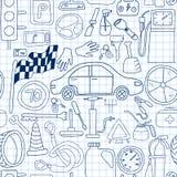 Άνευ ραφής σχέδιο με τα εικονίδια doodle για το αυτοκίνητο και την κίνηση στα μπλε χρώματα στο σημειωματάριο Στοκ φωτογραφία με δικαίωμα ελεύθερης χρήσης