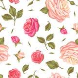 Άνευ ραφής σχέδιο με τα εκλεκτής ποιότητας τριαντάφυλλα Διακοσμητικά αναδρομικά λουλούδια Εύχρηστος για το σκηνικό, υφαντικό, τυλ Στοκ εικόνες με δικαίωμα ελεύθερης χρήσης