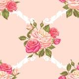 Άνευ ραφής σχέδιο με τα εκλεκτής ποιότητας τριαντάφυλλα Διακοσμητικά αναδρομικά λουλούδια Εύχρηστος για το σκηνικό, υφαντικό, τυλ Στοκ Εικόνες