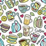 Άνευ ραφής σχέδιο με τα εξαρτήματα τσαγιού doodle Διανυσματική απεικόνιση