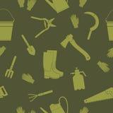 Άνευ ραφής σχέδιο με τα εργαλεία κηπουρικής Στοκ φωτογραφία με δικαίωμα ελεύθερης χρήσης