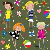 Άνευ ραφής σχέδιο με τα εύθυμα κορίτσια Στοκ φωτογραφία με δικαίωμα ελεύθερης χρήσης